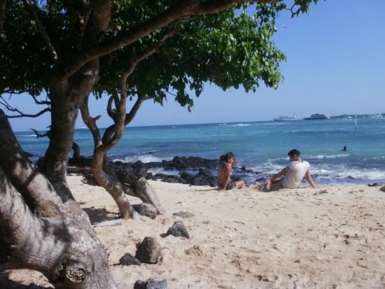Playa de la Estación on Puerto Ayora, Galapagos Islands. A Calm Day at Playa de la Estacion, Some Days Are Crowded