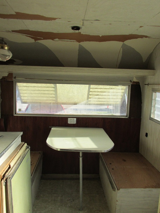 Story of the $200 Vintage Trailer. Striped Colorful Cushions... Made out of Old Foam That Was in the Trailer.  That's the Plan.
