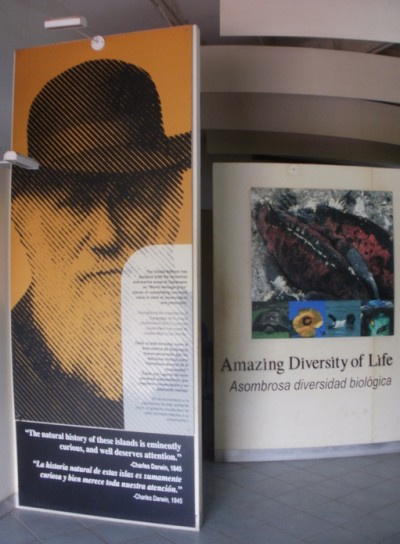 Charles Darwin Research Center in Galapagos Islands. Poster of Charles Darwin at the Research Center