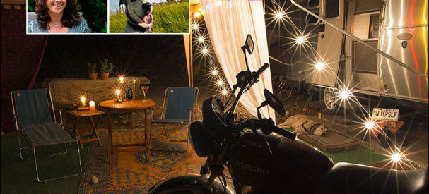 A Shot by Sharon of the Silver Snail Set-up at Night and Insets of Her and Harley. Pretty Cool Photo, No? She is a Graphic Designer... They Do Sutff like That!